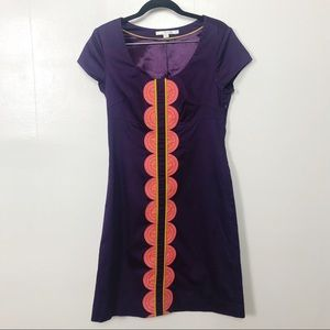 Boden Purple Short Sleeved Scoop Neck Dress Sz 6